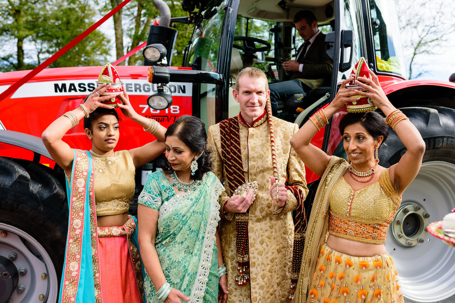 Traditional Indian wedding ceremony with tractor