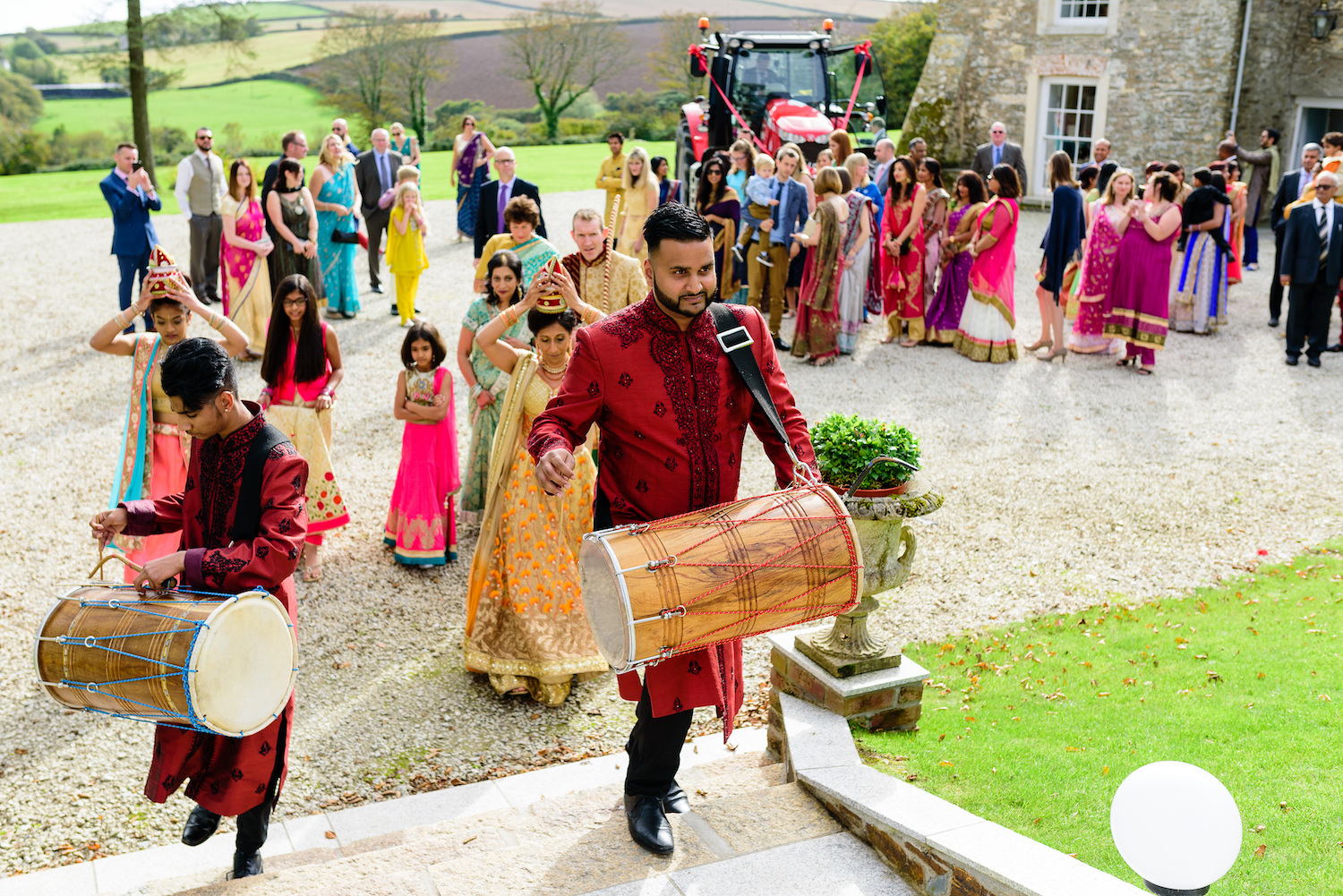 Men play drums pre Indian wedding ceremony
