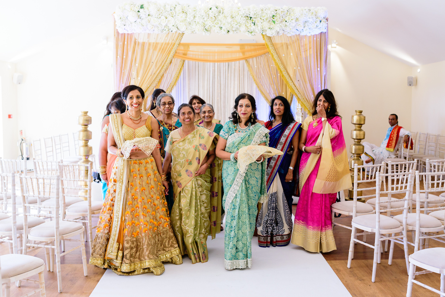Indian ladies group together Indian wedding