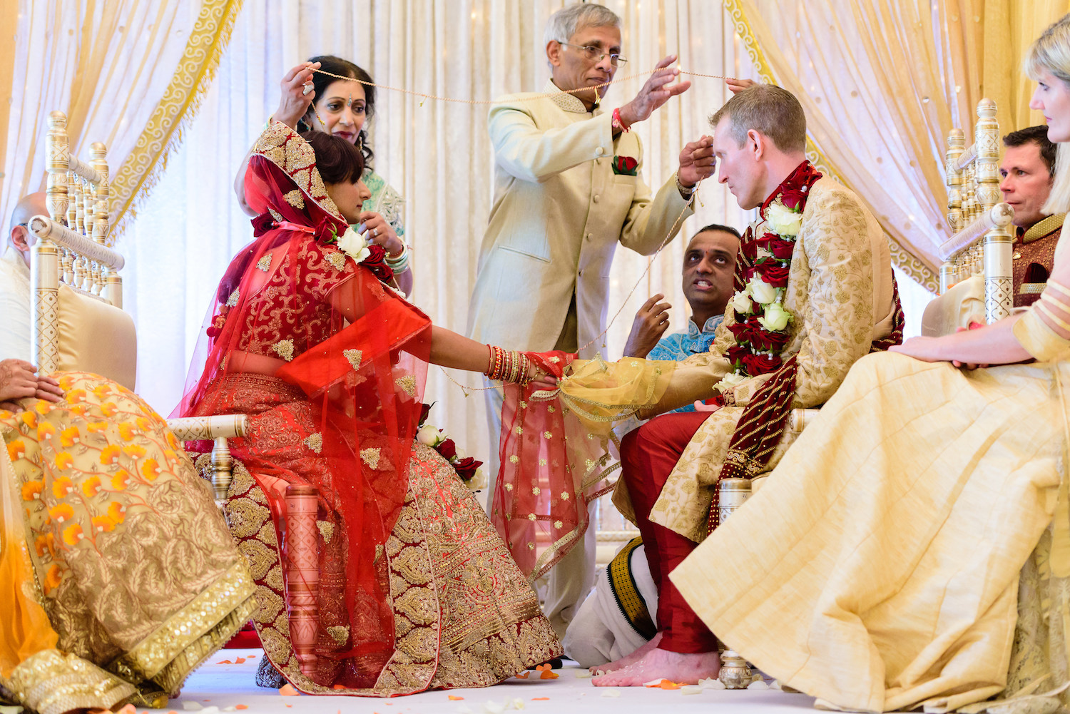 Indian wedding blessing modern wedding venue Tredudwell Manor