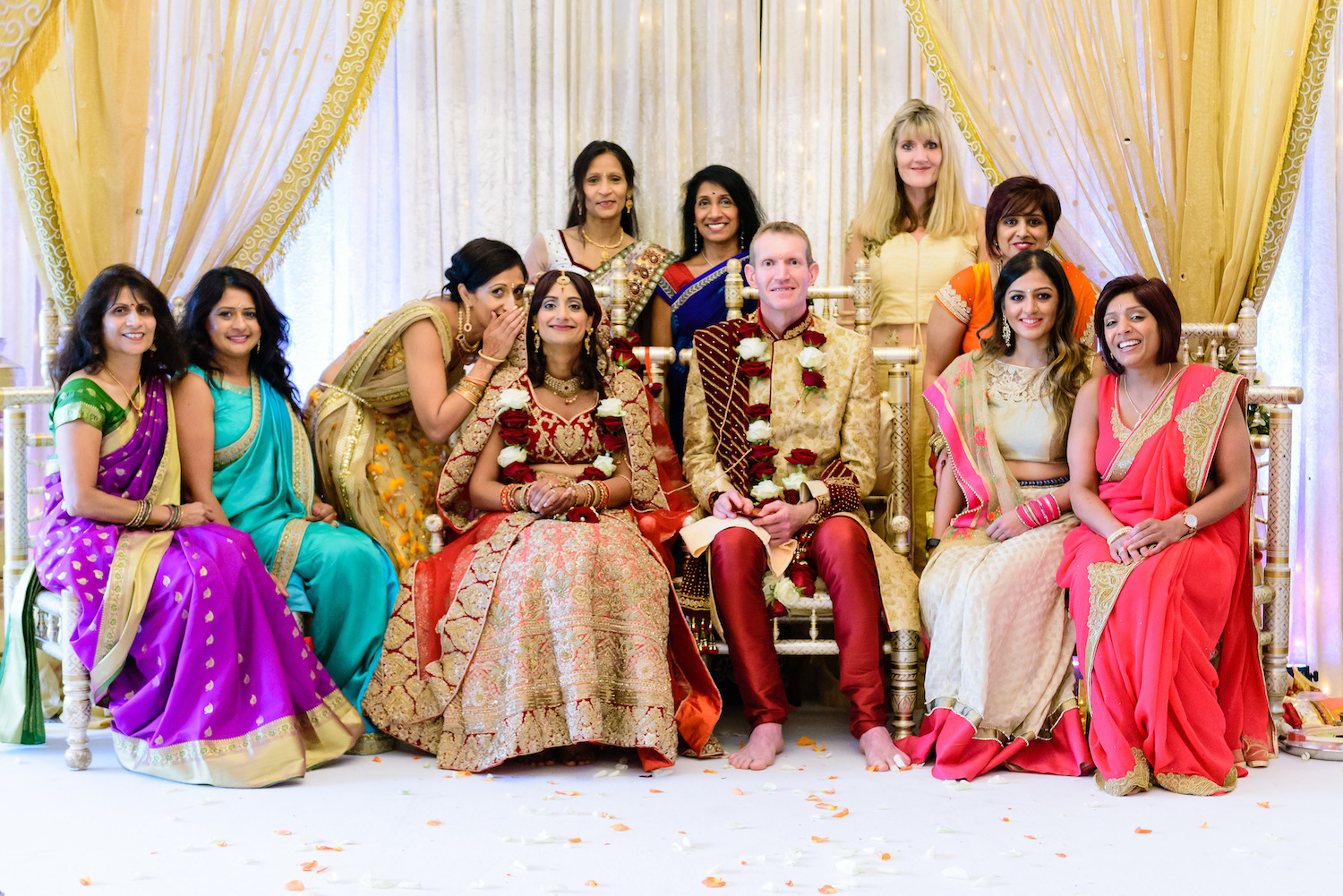 Beautiful family wedding portrait Indian wedding